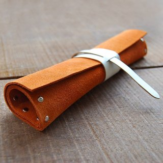 Orange leather pencil case/tool roll