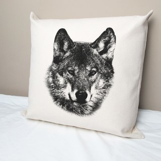 Wolf cotton canvas pillow