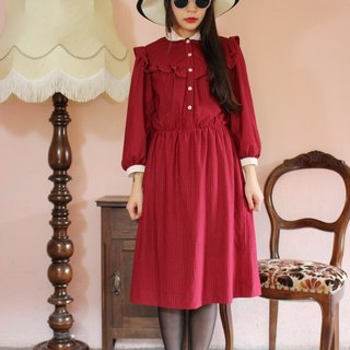 F1135 (Vintage) crimson stripe design little flounced long-sleeved vintage dress (wedding / picnic / party)
