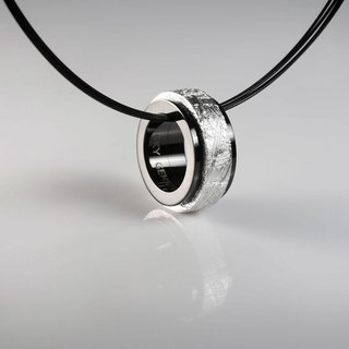 Meteorite Jewelry - Spinning Sweden Muonionalusta Meteorite 316L Stainless Steel Ring Pendant