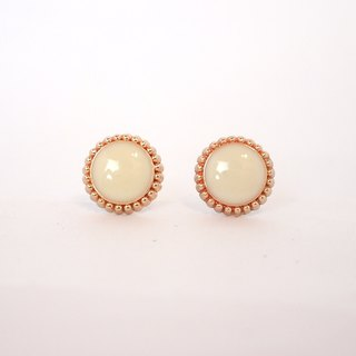 Circle dot White Litchi Stainless Steel Earrings 016