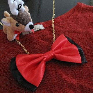 Rose Red + Black satin colored tie gentleman necklace