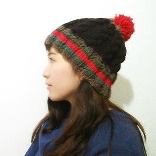Araignee Design * Hand-knitted wool cap - Beanie & Ball Ball cap // Black, red, brown gradient wool stitching ball neutral boy wind