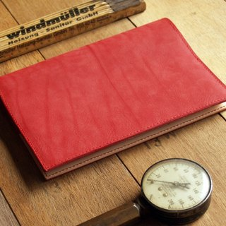 Leather Book Sleeve A5 ( Custom Name ) - Coral Red