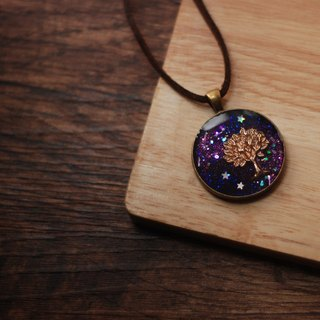 Violet hue. Hand-painted. Tree necklace