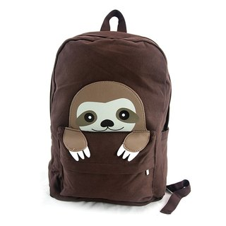 Childlike Three-toed Tree/Sloth Animal Modeling Canvas Backpack Dark Brown - Cool Music Village