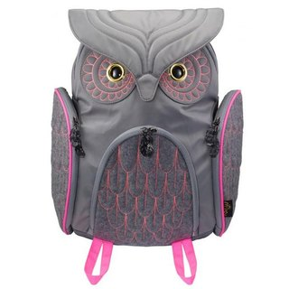 Morn Creations backpack after genuine fashion owl - Grey (L) (OW-311-GY)