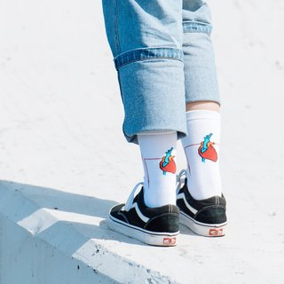 ECG Heart Socks (White) - Collaboration with Recovery