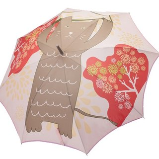 / Puputraga / wind Lucky Cat Japanese printing style good start to close anti-uv straight bone automatic umbrella
