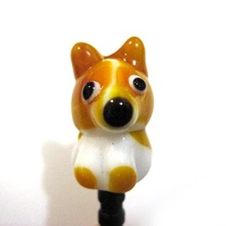 Cute Dog Series ~ (Corgi) glass phone dust plug