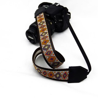 Camera strap can print personalized custom leather stitching geometric pattern national wind 002