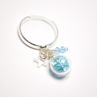 A Handmade glass pendant blue crystal ball ring