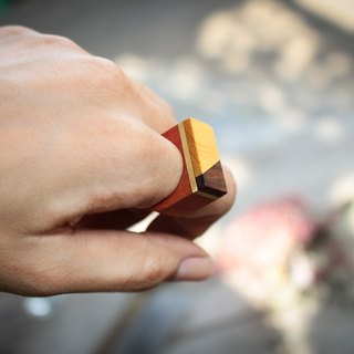 Geometric yellow&brown wood ring