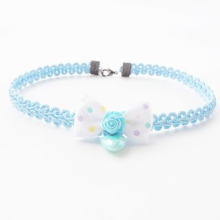 Blue lace choker / necklace with polka dot bow and blue heart.