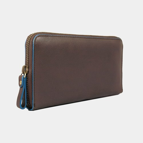 Baimiao Leather Zip Wallet –  Chocolate Brown