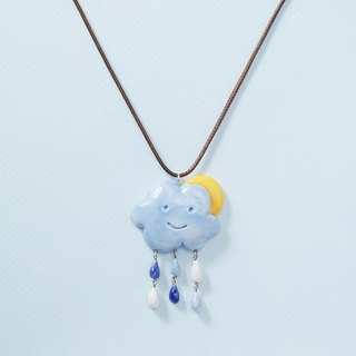 Cloud on the Sun - handmade white porcelain necklace