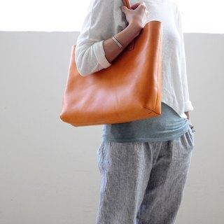 Hand Stitched Washed-Out Leather Tote Bag (Larger version)