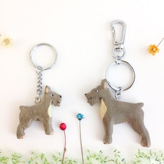 [Handmade wooden x dog series] * Gray Schnauzer key ring / strap