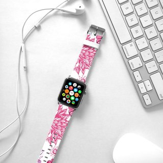 Apple Watch Series 1 , Series 2, Series 3 - Fancy Pink Floral pattern Watch Strap Band for Apple Watch / Apple Watch Sport - 38 mm / 42 mm avilable