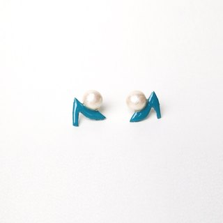 Earrings green [MTO] high heels and Cotton Pearl