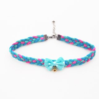 Blue lace choker/necklace with bow and bell