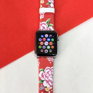 Apple Watch Series 1 ,Series 2 and Series 3 - 紅色中國花圖案 Apple Watch 真皮手錶帶38 / 42mm ,100%香港設計及製作