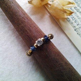 EF brass ring golden years NO.35 dark blue rhinestone