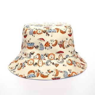 Hedgehog and mushroom illustration wind double-sided fisherman hat
