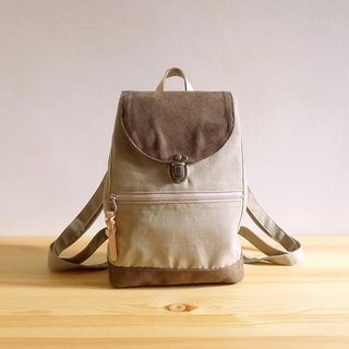 Chestnut X brown cotton fabric decorated with leather mini handmade backpack
