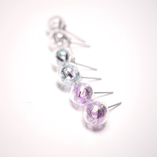 A Handmade imitation shiny silver glass ball Christmas ball earrings