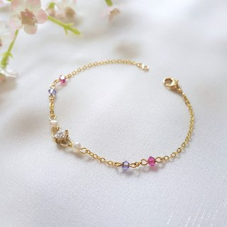 Campanula flower ‧ single crystal pearl crystal fine bracelet