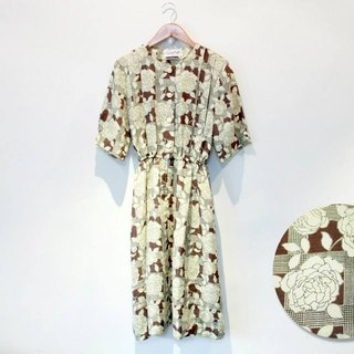 {::: Giraffe giraffe who :::} _ yellow-green flowers retro vintage dress