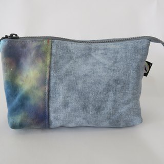 [Cicada hand-made cloth X] hand-dyed three zipper bag / Cosmetic / Pencil # universe stars