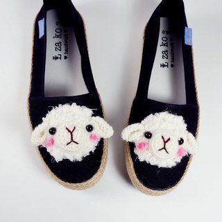 Black cotton canvas hand-made shoes sheep (with weaving)