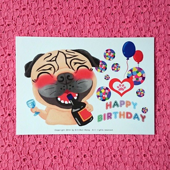 Postcard Happy Birthday Pug 03