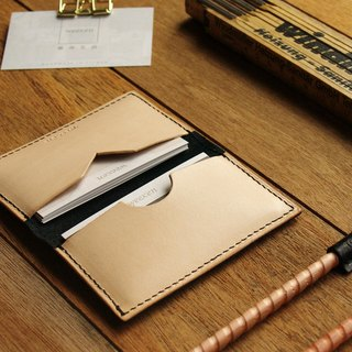 weekenlife - Leather Card Case ( Custom Name ) - Jazz Black