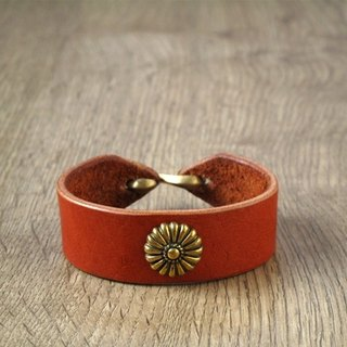 ROCK x ride Shifeng all handmade leather bracelet x brass large patterns (Brown)