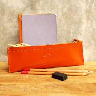 Pencil case - Pie - Orange (Genuine Cow Leather) / Pen case / Accessories Case