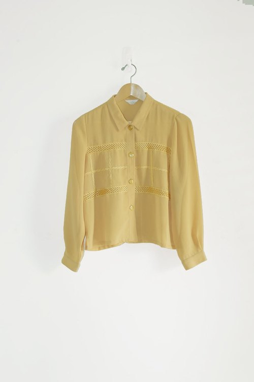 Just pills and cat ♫ ~ goose yellow vintage shirt