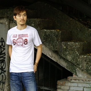 <Self-made self-service> Retro T-SHIRT-old school ~ only white Hello!