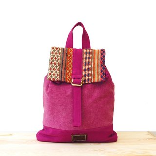 [Happa] after a small fresh canvas backpack - handmade knotted kilim paragraph (Raspberry raspberry pink) autumn backpack bag outing to go