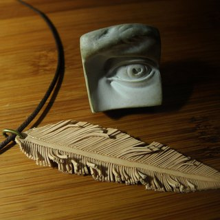 Leather feather / handmade leather feather necklace