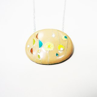 Rainy Day with Sunshine rain focussed enamel necklace (sun, rain)
