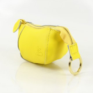 Full rabbit bunny purse / leather (egg yellow)