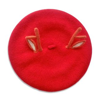Antlers Christmas red hat painter cap beret original new autumn and winter wool felt hand-made