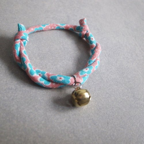 Japanese dog collar & cat collar【Nordic Cloth Adjustable】Pink Cyan_S size