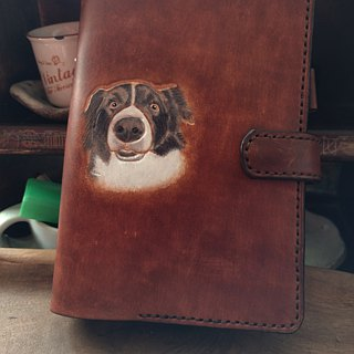 Customized pet dog British wind pure leather A6 six hole manual (custom lover, birthday gift)