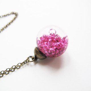 * Rosy Garden * Pink Planet gravel ore debris flow crystal glass beads necklace