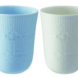 Royal Copenhagen shallow pattern arabesque glass two entry / blue / beige