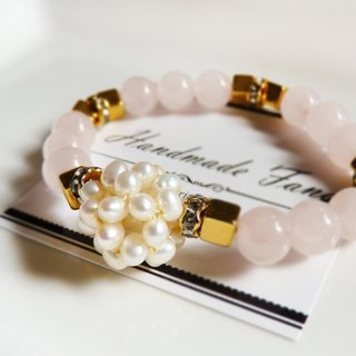 【Bouquet】 moon gem / pearl pink crystal bracelet